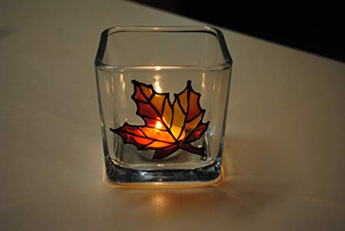 Orange Maple Leaf Hand Painted Stained Glass Square Candle...