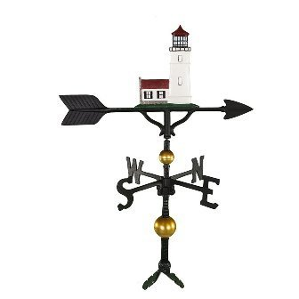 Montague Metal Products 32-Inch Deluxe Weathervane with Color Cottage Lighthouse Ornament
