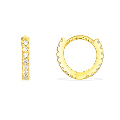 Thin Mini Ear Huggie Hoop Earrings Micro pave CZ Cartilage Hoops Sterling Silver 12mm 18K Yellow Gold (Pave Cuff)
