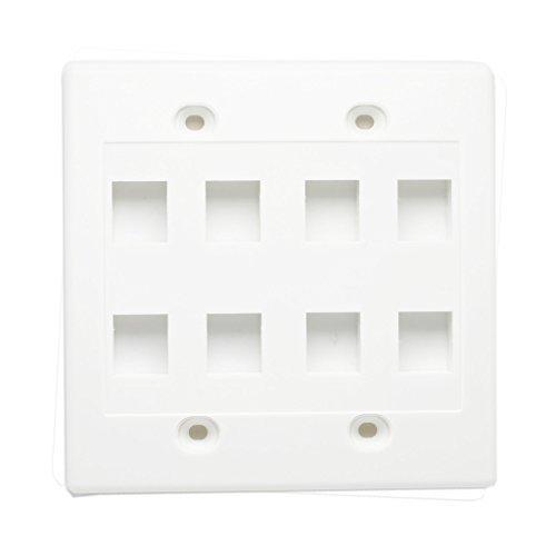 AllSmartLife 8 Port Keystone Wall Plate, Double Gang Keystone Jack FacePlate 2-Pack - White ¡