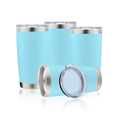 DOMICARE 20oz Stainless Steel Tumbler with Lid, Double Wall Vacuum Insulated Travel Mug, Durable Powder Coated Insulated Coffee Cup, 4 Pack, Light blue