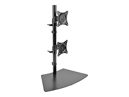 Tripp Lite Dual Monitor Mount Stand/Clamp, Vertical, Swivel & Tilt, 15-27 Inch, Flat Screen Display, Desktop Mount, Black -
