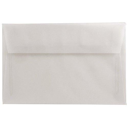 "JAM Paper A9 Invitation Envelope - 5 3/4"" x 8 3/4"" - Clear Translucent Vellum- 25/pack"