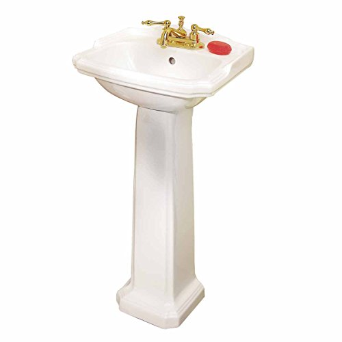 Small Pedestal Sink White Vitreous China Scratch/Stain Resistant Open Back Easy Clean And Install (Pedestal Sink Petite Bathroom)