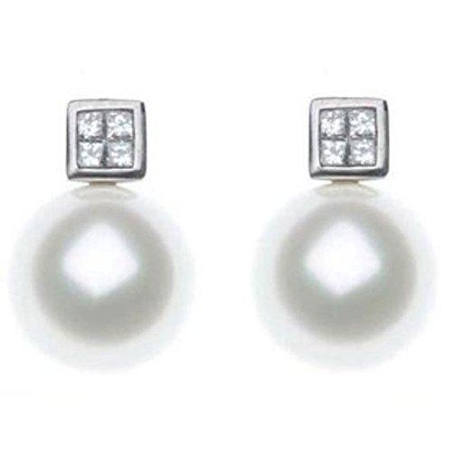 Boucles d'oreilles kailis or blanc diamants et perles australiennes