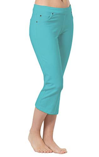 (PajamaJeans Pedal Pushers for Women - Womens Capri Pants, Aqua, 2X / 20-22W)