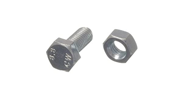 M8 x 25mm Steel BZP Hex Head Bolts Set Screws x 4