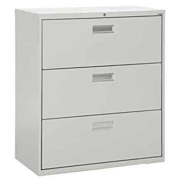"""Sandusky Lee LF6A363-05 600 Series 3 Drawer Lateral File Cabinet, 19.25"""" Depth x 40.875"""" Height x 36"""" Width, Dove Gray"""