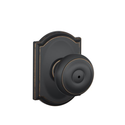 Schlage F40 GEO 716 CAM Camelot Collection Georgian Privacy Knob, Aged Bronze ()