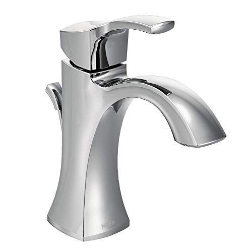 Moen 6903 Voss One-Handle Single Hole Bathroom Sink Faucet with Optional Deckplate, - Mirrors Bathrooms Height Ada Restroom