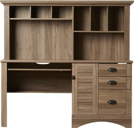 Rectangular Computer Desk with Hutch and Storage Drawers In Salt Oak Finish With Metal Runners and Hutch with Cubby Holes Storage or Display Spaces