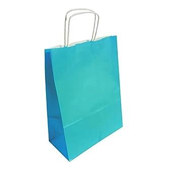 e9d5ede73 50 bolsas de papel Kraft Azul Turquesa sobre Fondo Blanco 24 x 11 x 31 cm -  6297: Amazon.es: Ropa y accesorios