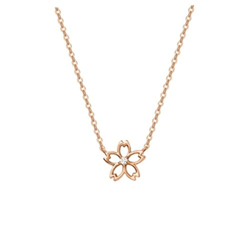 Carleen 14K Solid Rose Gold Diamond Cherry Blossom Flower Necklace Pendant Dainty Fine Jewelry Necklaces for Women Girls