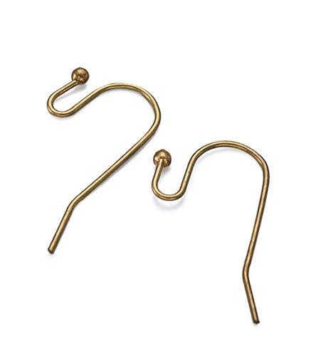 200pcs Hypoallergenic Ear Wire Ball Dot French Earring Hooks 20mm Antique Bronze Plated Brass Earrings Making (wire ~21GA) CF206-B (Bronze Leverback Earring Hooks)