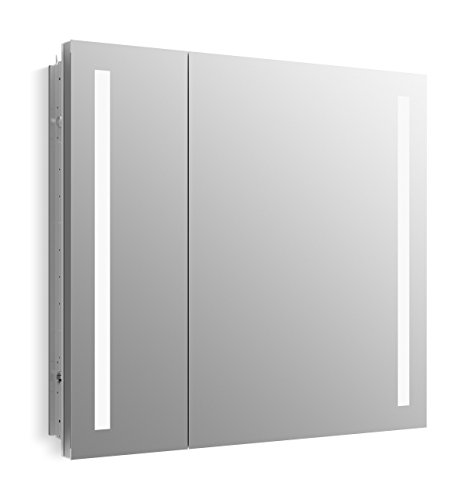 KOHLER K-99009-TL-NA Verdera 34 inch x 30 inch LED Lighted Bathroom Medicine Cabinet, Slow Close Hinge, Internal Magnifying Mirror; Aluminum; Recess or Surface Mount; 2 Doors (Recess Storage Panel)