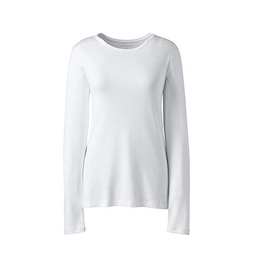 (Lands' End Women's Plus Size All Cotton Long Sleeve T-Shirt - Rib Knit Crewneck, 1X,)