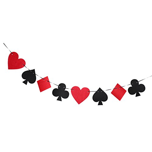 MagiDeal Casino Playing Cards Felt Banner Poker Game Room Birthday Party Supplies -