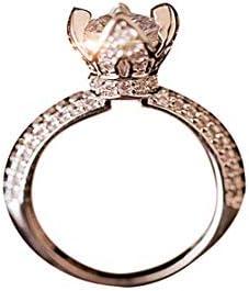 KXYSLY リング 指輪 新品 人工ジルコン王冠リング 銅製 メッキ 19Kピンクゴールド レディース ジュエリー アクセサリ