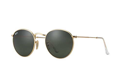 Ray-Ban Round Metal Gold Sunglasses RB 33447 001 47mm +SD Glasses+Cleaning - Ban 47mm Rb3447 Ray