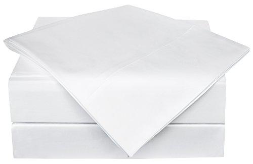 PHF Bamboo Sheets Set 60% Bamboo Viscose 40% Cotton 300T Deep Pocket 4 Piece Queen Size White