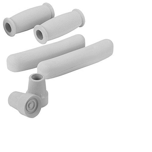 HEALTHLINE Crutch Replacement Part Kit, Cane Crutch Hand grips, Tips and Arm Cushions, Easy Application Crutch Accessory Kit, Cover Set, Fit Most Standard Crutches, Gray