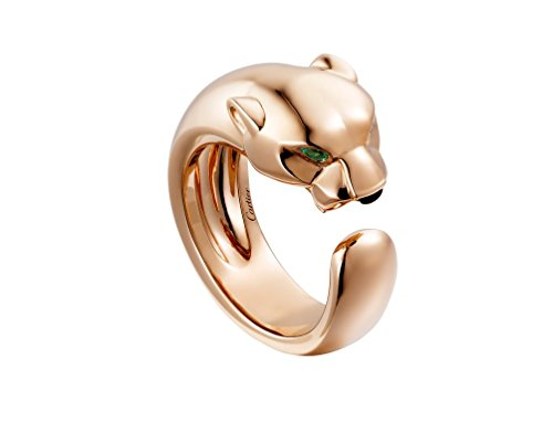 (Cartier Style Panther Emerald Eyes 14k Yellow/White/Rose Gold Wedding Anniversary Women Panthere Ring,All US Size Available (14k Rose Gold))