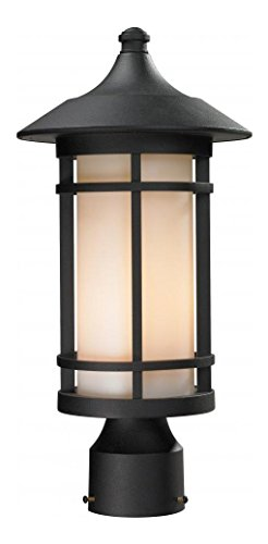 - 527PHM-BK Black Woodland 1 Light Outdoor Post Light with Matte Opal Shade