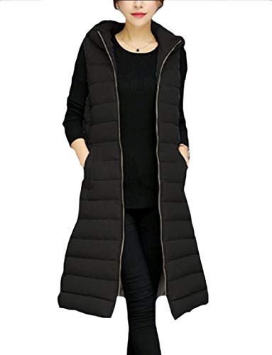 Warm Coat Curvy Sleeveless Thickened Outerwear Women's Black Zipper Mogogo 4vqgtt