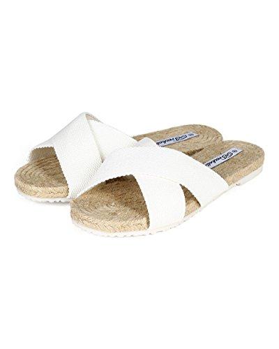 Slipper White Espadrille Open Toe Cross Canvas CC95 Breckelles Sandal Criss Women Woven UwqBnCz