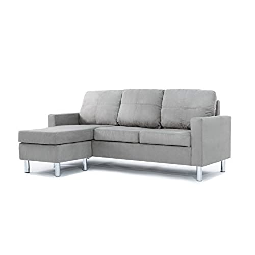 Modern Microfiber Sectional Sofa   Small Space Configurable (Grey)