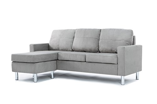 Divano Roma Furniture Modern Microfiber Sectional Sofa   Small Space Configurable  Grey