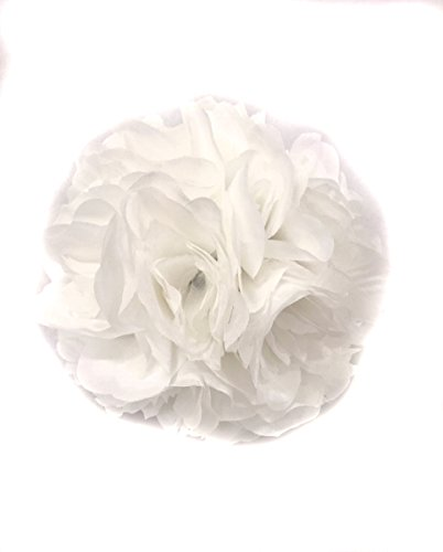 Ben Collection Fabric Artificial Flowers Silk Rose Pomander Wedding Party Home Decoration Kissing Ball Trendy Color Simulation Flower (Pure White, (Pure White Flowers)