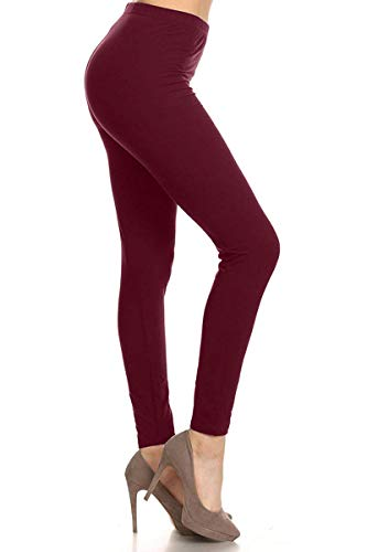 LDR128-Burgundy Basic Solid Leggings, One Size