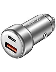 ELECJET USB C Car Charger, 45W Adapter with 27W PD USB C/ 18W USB A QC 3.0 Dual Port, for Galaxy S10/S10e/S9/S8/S7/S6/S5, iPhone XS/Max/XR/X/8plus/8/7plus/7, iPad Pro/Air, LG G7/6/5/4, Switch and More