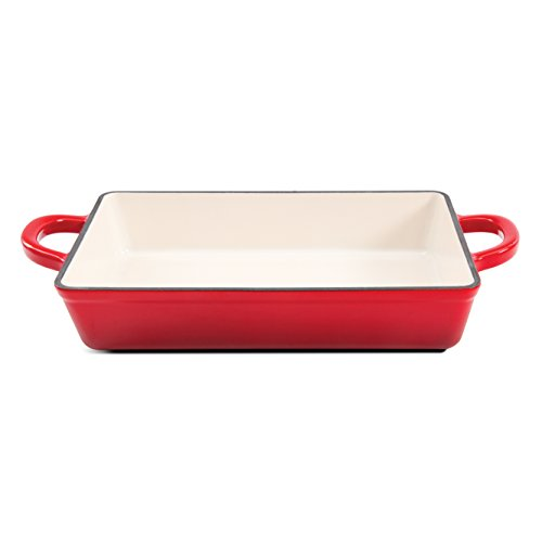 Crock Pot Artisan 13in Enameled Cast Iron Lasagna Pan, Red (Cast Pan Lasagna Iron)
