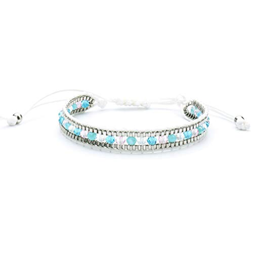Pearl Single Wrap Bracelet - TraveT Mix Beaded Single Wrap Bracelet on Rope Handwoven New Charm Cuff Jewelry,Rice Pearl