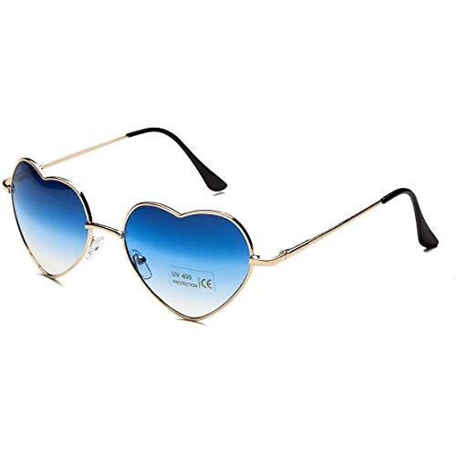 Dollger Blue Heart Sunglasses for Women Thin Metal Frame]()