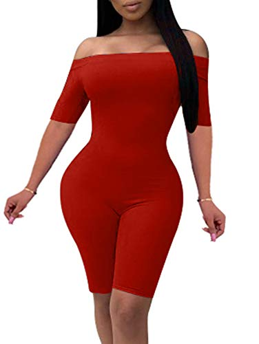 - YMDUCH Women's Sexy Off The Shoulder Solid Color Catsuit Short Leg Club Skinny Jumpsuit Red
