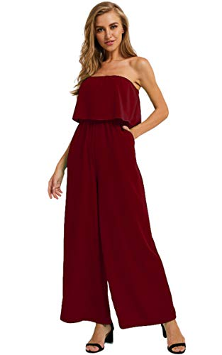 (Angashion Women's Jumpsuits-Sexy Strapless Ruffle Wide Leg Tube Jumpsuit Rompers Playsuit with Pockets Wine Red L)