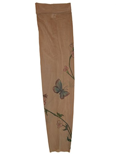 [Wild Rose Unisex BLUE BUTTERFLY Single Tattoo Mesh Sleeve White Pink Flower Vine, Tan, Medium] (Canada Dance Costumes)