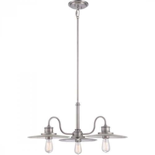 Quoizel ADM5103AN Admiral with Antique Nickel Finish,  Dinette Chandelier and 3 Lights,  Silver