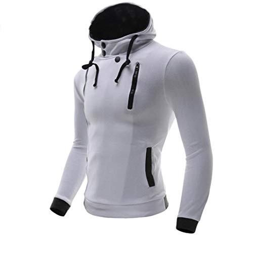 kaifongfu Men Hooded Top,Solid Color Autumn Winter Long Sleeve Button Slim Tops (White,M) ()