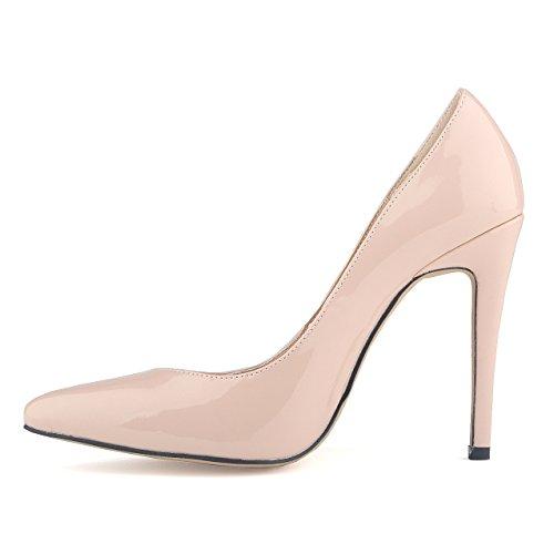 Zapatos delgados - TOOGOO(R)zapatos de tacon alto de patente de PU de estilo de trabajo zapatos de corte surtidor para mujer albaricoque 40