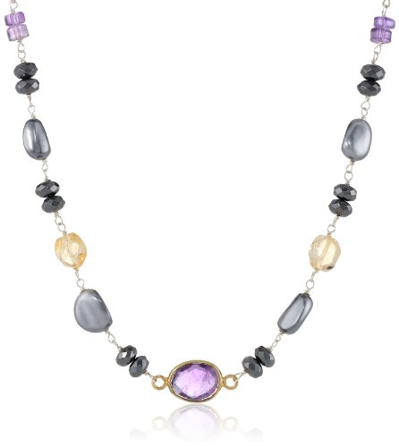 Sterling Silver Linked Hematite Rondelles, Citrine Nuggets, Mother of Pearl Nuggets, and Amethyst Bezel Necklace, 18""