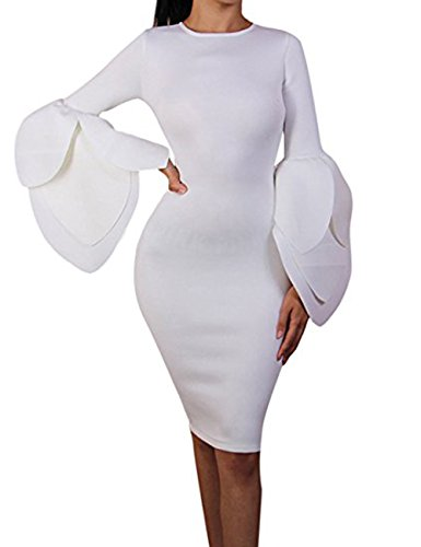 Petal Sleeve Dress (UONBOX Women's Long Petal Sleeves Knee Length Wedding Night Club Party Bandage Dress (White, L))
