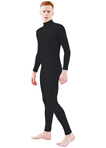 Ensnovo Adult Lycra Spandex Turtleneck Long Sleeve One Piece Unitard Bodysuit Dancewear Black, XL -