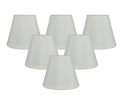 Meriville Set of 6 Eggshell Faux Silk Clip On Chandelier Lamp Shades, 3.5-inch by 6-inch by 5-inch ()