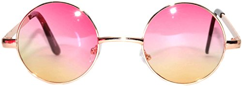 Retro Round Circle Colored Vintage Tint Sunglasses Metal Frame OWL (43mm_gold_pink_yellow, PC - Glasses Yellow Round