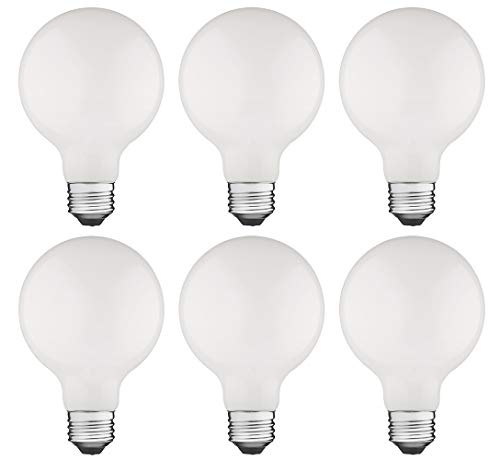 TCP FRG254027ND6 LED Classic G25 Non-Dimmable Light Bulbs 6 Pack Soft -