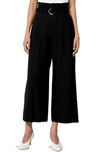 TheMogan Women's Belted High Rise Linen-Blend Wide Leg Culotte Crop Pants Black S
